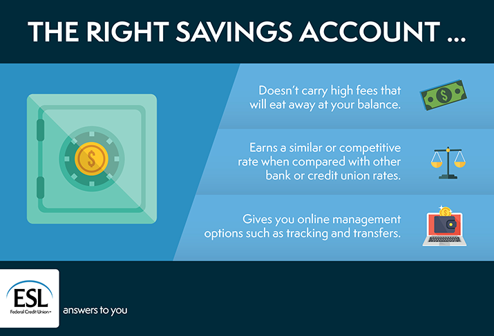 The right savings account… Doesn't carry high fees that will eat away at your balance. Earns a similar or competitive rate when compared with other bank or credit union rates. Gives you options for online management such as tracking and transfers.